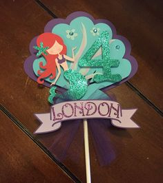 Mermaid Cake topper by HandcraftedByW on Etsy Mermaid Theme Birthday, Little Mermaid Birthday, Little Mermaid Parties, Little Mermaid Cakes, Second Birthday Ideas, 4th Birthday Parties, Cake Toppers, Alice, Decoration