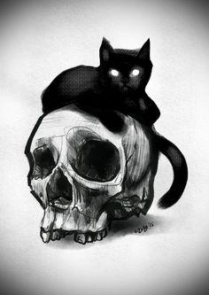 #skull #cat #halloween #art #drawing #tattoo #design