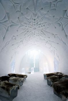 Icehotel, Jukkasjärvi, Sweden - sleep on a bed of ice? I don't think so! but I would like to see it all the same.