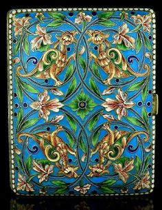 Antique Cigarette Cases | Russian Silver and Cloisonne Enamel Cigarette Case