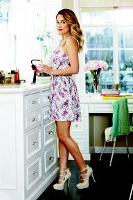 lc lauren conrad: flirty printed floral dress + strappy heels. Perfect for a summer date