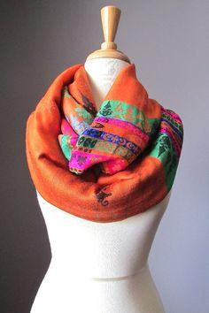 Orange infinity scarf pashmina  scarf ethnic by ScarfObsession, $29.00
