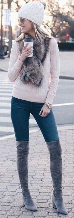 #winter #fashion / White Beanie + Light Pink Knit + Skinny Jeans + Dark Velvet Boots