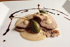 Vitello Tonnato nach Piemonteser Art, ein schönes Rezept aus der Kategorie Snacks und kleine Gerichte. Bewertungen: 82. Durchschnitt: Ø 4,5.