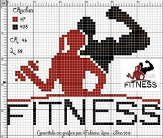 Fitness - could even be used as a guide to make a quilt for the fitness person in your life Sheep Cross Stitch, Cross Stitch Flowers, Cross Stitching, Cross Stitch Embroidery, Cross Stitch Patterns, Tapestry Crochet, Le Point, Pixel Art, Fitness