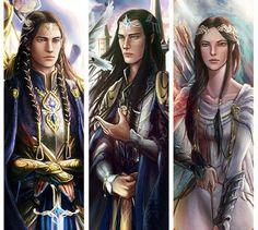 The children of Fingolfin: Fingon the Valient, Turgon the Wise, Aredhel the White (also called Ar-Feiniel, the White Lady of the Noldor).