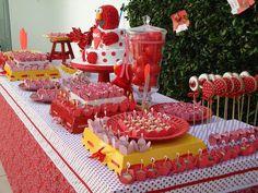 decoración temática para cumpleaños infantiles en color rojo, blanco y amarillo