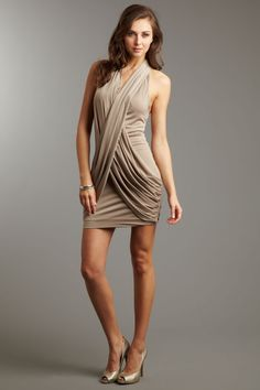 """$105 on sale (65% off) by Faith Connexion- """"Draped Embellished Strap Dress""""- the back is equally as cool #dress"""