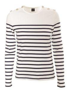 jean paul gaultier Stripe Button Detail Ls Tshirt Navywhite