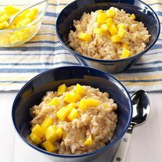 Mango Rice Pudding Rice Pudding Recipes, Rice Recipes, Healthy Recipes, Rice Puddings, Pudding Desserts, Fruit Recipes, Healthy Desserts, Cooking Recipes, Sweets