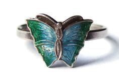 Vintage Art Deco enamel and silver butterfly ring by Inglenookery