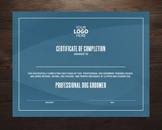 instant download certificate template certificate of completion files included photoshop file and ms