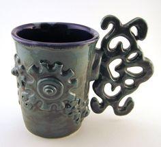 Steampunk mug, hardware, cup, coffee, tea, gears, clock works, metal. $32.00, via Etsy.