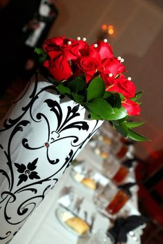 Black and white wedding decor with crystal   Table decor centerpiece red roses