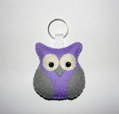 Wool Felt Purple Owl Keyholder, Owl Keychain, Felt Owl, Keyring, Gift Bag, Owl Keyfob, Charm, Decor, Birthday Gift, Felt Animal, Bag Charm by NitaFeltThings on Etsy