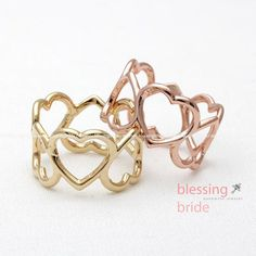 open HEART thumb ring 3 colors by blessingbride on Etsy, $15.00