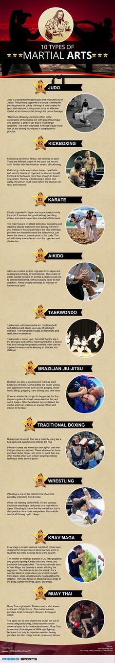 SEO friends RobbinsSports.com infographic on 10 Types of Martial Arts Master Self-Defense to Protect Yourself #selfdefenseinfographic
