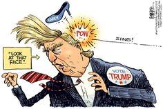 Trump Face © Rick McKee,The Augusta Chronicle,Trump, Carly, Fiorina, GOP, Republican, presidential, debate, 2016 election, face