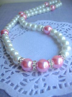 Classic white pink pearl strand necklace, rhinestone. FREE matching earring. Other colours available.. $21.50, via Etsy.
