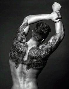 Men's Back Angel Wings Tattoos