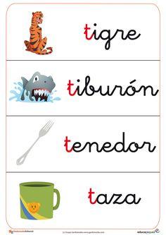 Fichas de vocabulario que comienza con la letra del alfabeto T, como tiburón, tenedor, etc.
