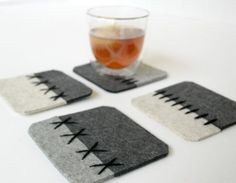 Felt Coasters in Sandstone and Gray by Fuzzy Logic Felt