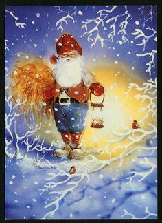 Johnnie Jacobsen Xmas Pictures, Winter Pictures, Christmas Knomes, Baumgarten, Elves And Fairies, Christmas Drawing, Troll, Woodland Creatures, Old Postcards