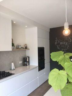 gray tiles in the kitchen - Before After DIY One Wall Kitchen, Ikea Kitchen, Home Decor Kitchen, Kitchen Interior, Home Kitchens, Kitchen Tiles, Cuisines Design, Minimalist Kitchen, Küchen Design