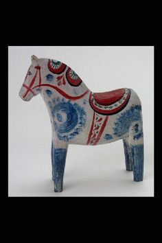 Really beautiful old Swedish Dala horse, by Digitalt Museum