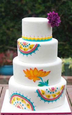 Summer wedding cake idea - four-tier, fondant-frosted wedding cake with bright pattern detail {Erica OBrien Cake Design}