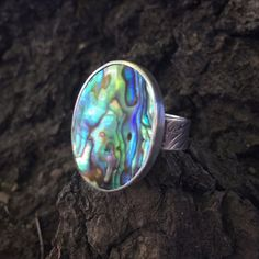 Silver Ring Size 9 1/2 Abalone Statement by PacificCrestSilver