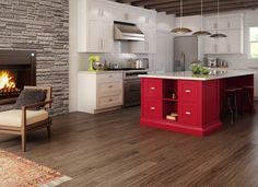 Preverco is the leading Canadian manufacturer of high-quality solid and engineered hardwood floors and wood flooring. Enjoy a hassle-free experience as you choose your hardwood floor. Prefinished Hardwood, Engineered Hardwood Flooring, Hardwood Floors, Dark Flooring, Kitchen Dining, Kitchen Decor, Kitchen Ideas, Red Kitchen, Kitchen Island