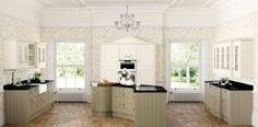 Oundle White, Tea Green and Fern   Wood Farm Kitchens
