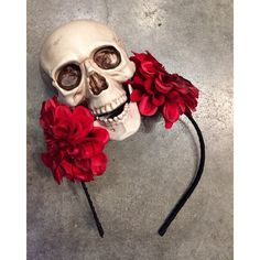 Skull headband -Day of the Dead- Halloween -headband -red flower... ($30) ❤ liked on Polyvore featuring accessories, hair accessories, red flower headband, flower crown, fascinator headband, headband hair accessories and hair fascinators