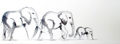 Elephant Family, Little Elephant, Family Drawing, Moose Art, Wildlife, African, Watercolor, Drawings, Animals