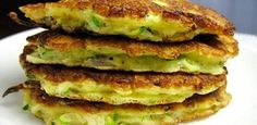 Mom's Zucchini Pancakes Recipe - Crispy pan-fried vegetable pancakes make an easy side dish or appetizer. Serve with sour cream. Vegetable Pancakes, Zucchini Pancakes, Fried Zucchini, Recipe Zucchini, Shredded Zucchini, Zucchini Fritters, Zucchini Bread, Vegetable Dishes, Frittata