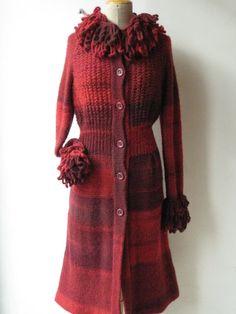 Cappottino in lana sfumata con collo staccabile e polsi a maxi punto pelliccia a crochet