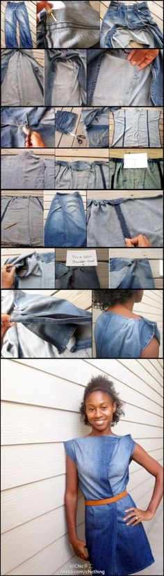 Turning an old pair of jeans into a wrap dress. I could do this. Fingers Crossed