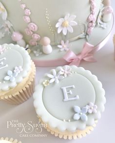 Initial monogram pastel birthday pretty flower cupcakes