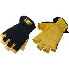 Half Finger Deerskin Blk/ Ylw Palm / Large #caterpillar #gloves #forsale #heavyequipment