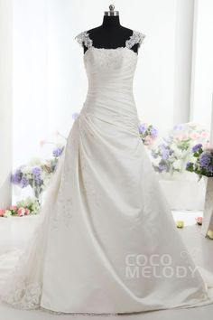 Stylish+A-Line+Straps+Natural+Train+Taffeta+Ivory+Sleeveless+Lace+Up-Corset+Wedding+Dress+with+Pleating+and+Appliques+CWLT14016