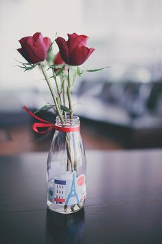 French Vase #recycle #glass #bottle #rose - I made them for our engagement party