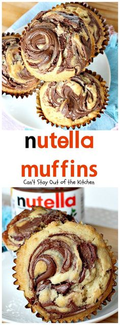 Oh my goodness, Nutella Muffins are heavenly. I have a confession to make. I've never tasted anything with Nutella before this. Quite frankly, I wondered wh (nutella mug cake parties) Muffin Nutella, Nutella Muffins, Nutella Spread, Nutella Snacks, Chocolate Muffins, Nutella Biscuits, Nutella Cupcakes, Nutella Chocolate, Chocolate Snacks