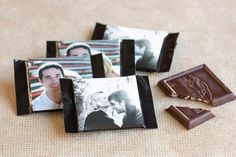 $1 Wedding Favor Ideas. For chocolates put our names and wedding date on the picture as well