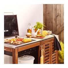 ÄPPLARÖ / KLASEN Charcoal barbecue with cabinet - brown stained, stainless steel color - IKEA Ikea Applaro, Ikea Outdoor, Outdoor Ideas, Ikea Us, Ikea Family, Grill Accessories, Wooden Tops, Charcoal Grill, Courtyards