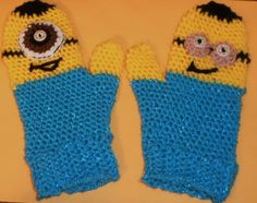 MINION-LIKE / MITTENS/ SIZE: TEEN to Adult - One-Eye and two-eye; COMICAL; BLUE, #Handmade #Mittens