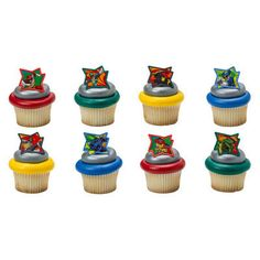 8 Power Rangers Dino Charge Cake Cupcake Pops Plastic Rings Party Favors Birthday by sweetcreationsparty on Etsy https://www.etsy.com/listing/239664091/8-power-rangers-dino-charge-cake-cupcake
