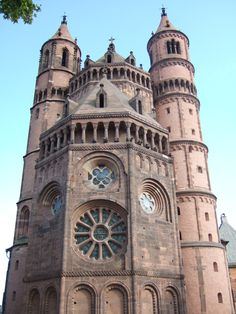 Worms Cathedral, Germany, displays a great variety of openings and arcades including wheel and rose windows, many small simple windows, galleries and Lombard courses.
