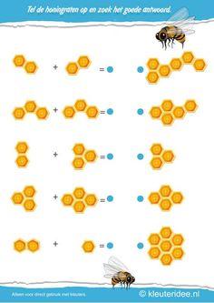 Tel de honingraten op en zoek het goede antwoord, kleuteridee.nl , thema bijen voor kleuters, Count the honeycombs and find the answers, bees theme for preschool, free printable
