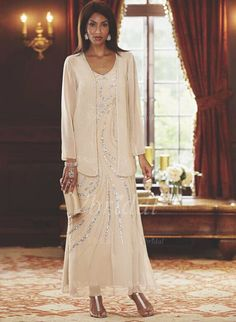 Robes de mère de la mariée - $188.20 - Forme Fourreau Col V Longueur cheville Mousseline de soie Robe de mère de la mariée avec Paillettes (0085095760)